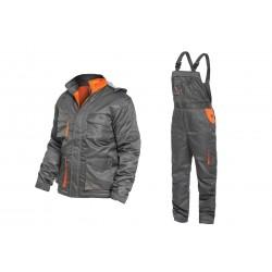 Ватиран работен комплект яке и полугащеризон HAIL Set | Тъмно сиво